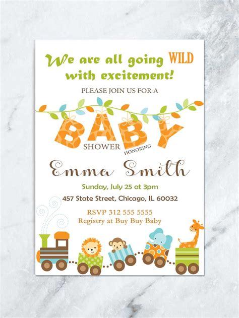 jungle baby shower invitation safari baby animal baby
