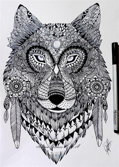 zentangle wolf  itsalana  deviantart art class