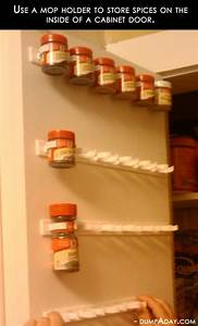 Amazing Easy DIY Home Decor Ideas- mop holder spice rack