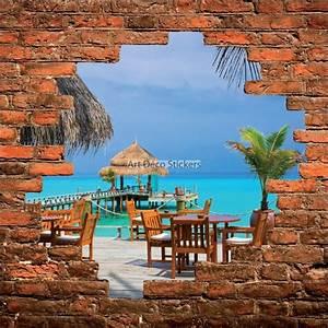 Mur Trompe L Oeil : sticker mural trompe l il mur de pierre terrasse sous les tropiques stickers muraux deco ~ Melissatoandfro.com Idées de Décoration