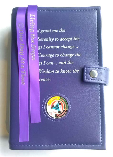 aa double book cover serenity prayer purple
