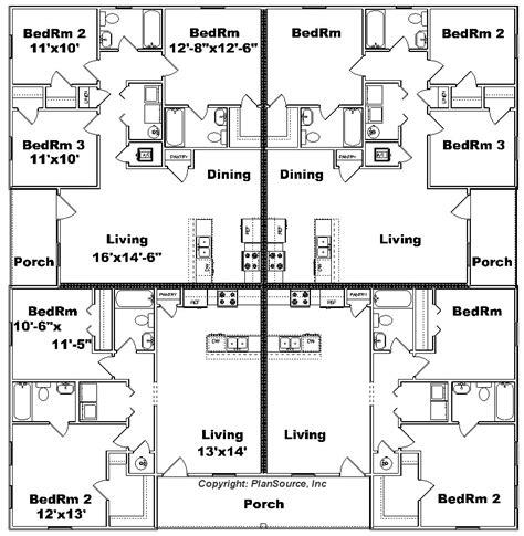 fourplex floor plans home plan