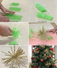 how to make beautiful christmas tree ornament decorations with straws step by step diy tutorial