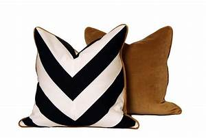 brown back black and white chevron throw pillow With black white and gold decorative pillows