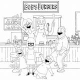 Restaurant Coloring Burgers Bob Printable Bobs Tina Belcher Gene Louise Coloringonly sketch template