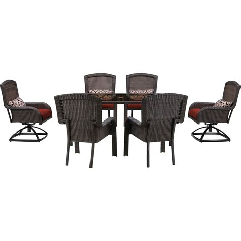 hanover strathmere 7 dining set with 4 stationary