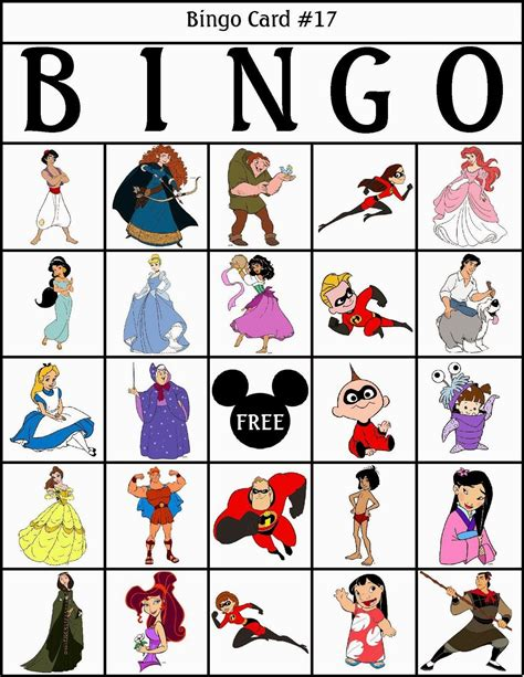 bingo de personajes disney para imprimir gratis disney