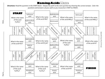 naming acids maze for review or assessment by science from