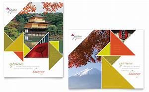 Library Brochure Templates Japan Travel Brochure Template Design