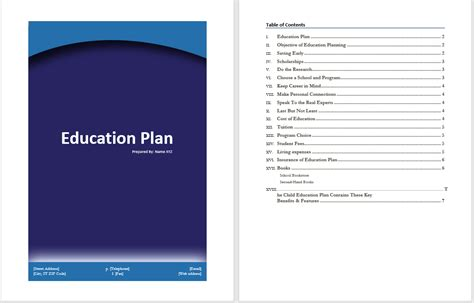 education plan template word templates