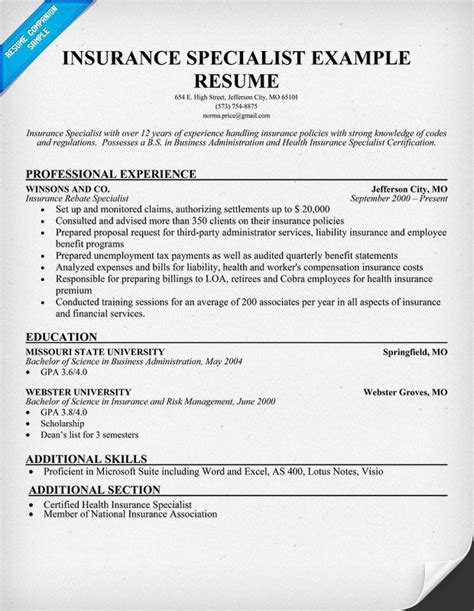 insurance sales resume cover letter free insurance specialist resume resumecompanion
