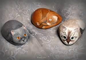 Galet Peint Animaux by Chats Peints Sur Galets By Yvette Bierdermann Magnifique