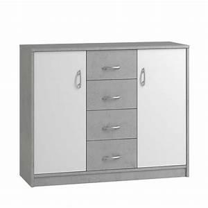 Kommode Grau Weiß : schlafzimmer kommode brixx in wei und beton grau 2 t rig ~ Watch28wear.com Haus und Dekorationen