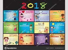 Calendário de 2018 com crianças — Stock Photo