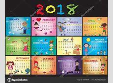 Kalender 2018 mit Kindern — Stockfoto © casaltamoiola