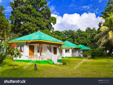 Bungalow Hotel Tropical Beach Vacation Background Stock