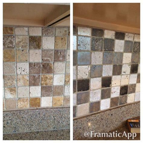 Painted travertine tile backsplash to gray tones.   DIY
