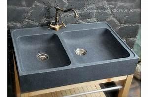 Evier Cuisine En Pierre : 90x60 vier de cuisine en pierre granit v ritable karma ~ Premium-room.com Idées de Décoration