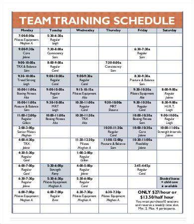 team schedule template   word excel  format