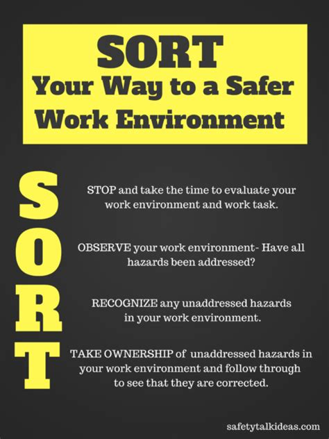 sort     safer work environment safety poster
