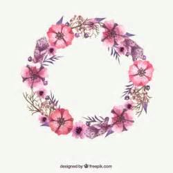 watercolor pink flower wreath vector free