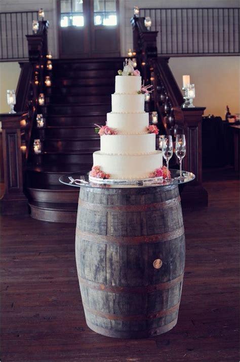 classic wedding cake   wine barrel cake stand deer