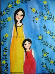 Mother Daughter Acrylic Paintings