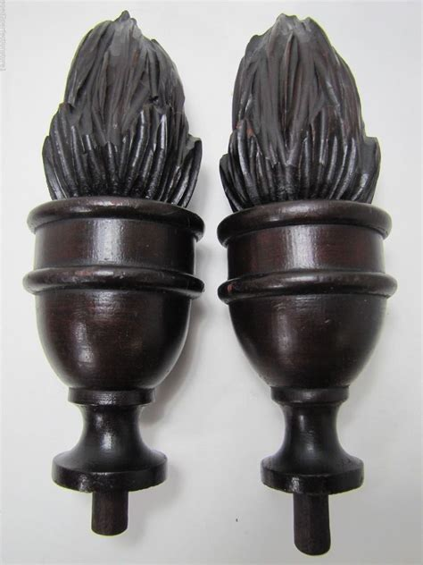 antique wood carved turned finials ornate architectural wooden pair ebay