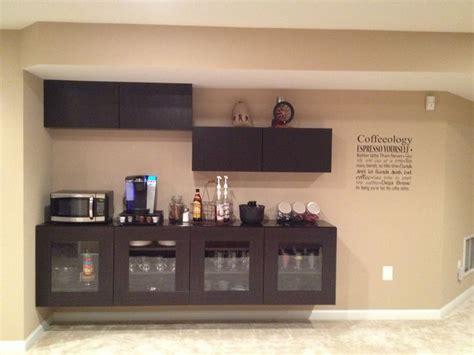 Ikea Bar Ideas by Coffee Bar Using Ikea Besta Cabinets Basement