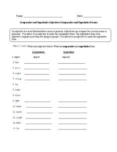 circling comparative and superlative adjectives worksheet