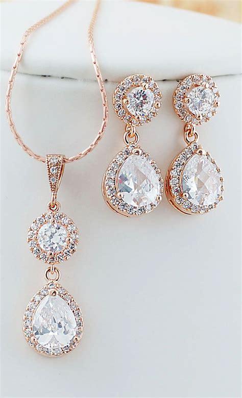 gold cubic zirconia bridal jewelry set wedding