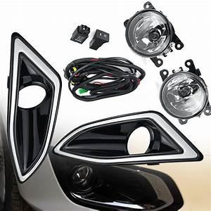 Pair Fog Light Lamps Frame Kit For For Ford Edge 2015