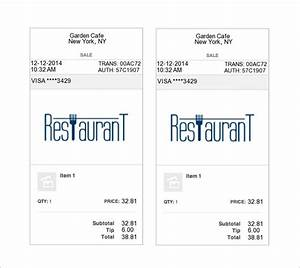 restaurant receipt template 12 free sample example With dinner receipt template