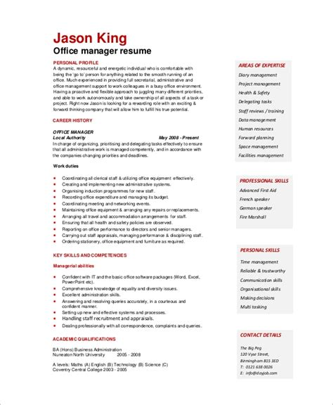 Office Skills Resume by Sle Office Manager Resume 8 Exles In Word Pdf