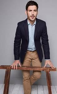 Navy blazer light blue chambray shirt khaki pants light for How to dress for a wedding men