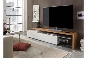 Meuble Tv Design Bois : meuble tv design bois et blanc pour salon ~ Melissatoandfro.com Idées de Décoration