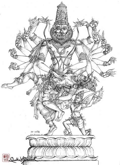 16_Arm_Narasimha_DrdhaVG   Sketches, Hindu art, Drawings