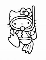 Coloring Diving Scuba Diver Kitty Pages Hello Drawing Printable Draw Clip Clipart Colouring Helmet Divers Cartoon Template Sketch Boy Cat sketch template