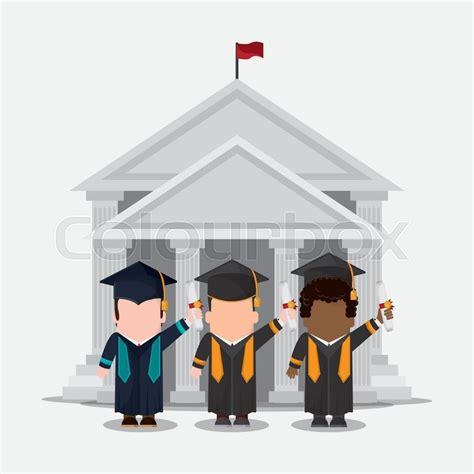 graduation cap diploma building boy male suit cartoon