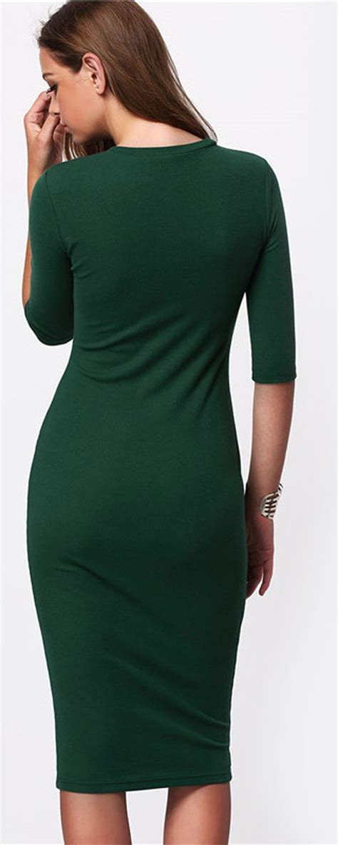 emerald green  long sleeve long tight midi dress