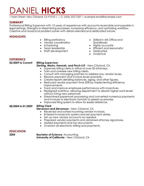 best billing clerk resume exle livecareer