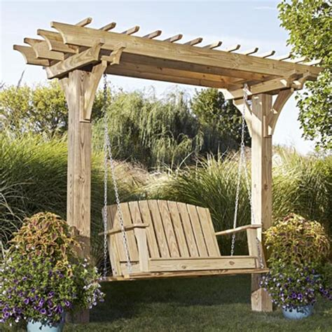 wood pergola designs and plans easy swinging arbor with swing woodworking plan from wood magazine landscaping