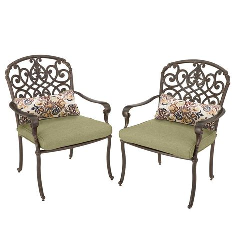 hton bay edington cast back pair of patio dining chairs