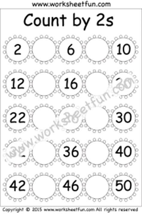 skip counting by 2 count by 2s 4 worksheets free