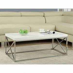 monarch specialties gloss white and chrome coffee table i With white and chrome coffee table