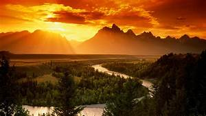 Landscape, Nature, Orange, Sunset, Sun, Rays, River, Pine, Trees, Trees, Forest, Mountain