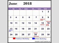 June 2018 Calendar With Holidays – printable calendar