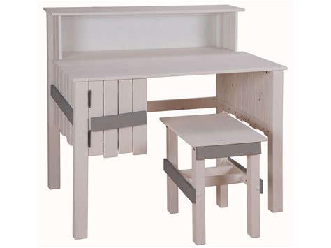 bureau bicolore tabouret amazone coloris blanc et gris