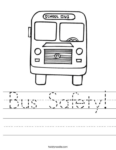 safety worksheet twisty noodle 503 | bus safety 2 worksheet