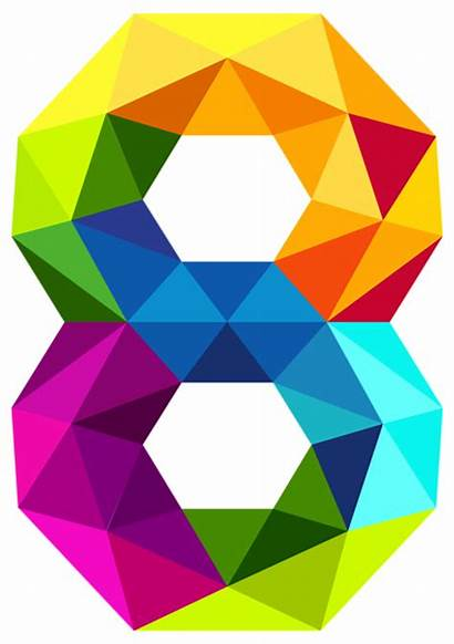 Number Clipart Colourful Eight Triangles Triangle Numbers